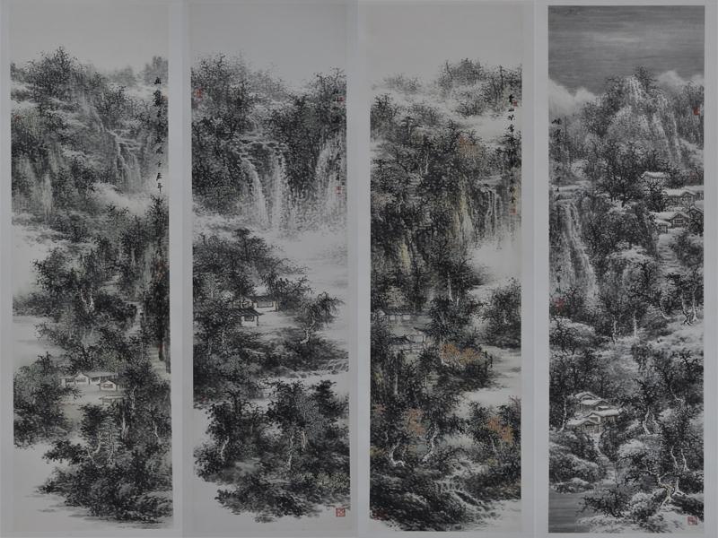 四条屏:郭春 - 山水展馆 - 京龙艺圣
